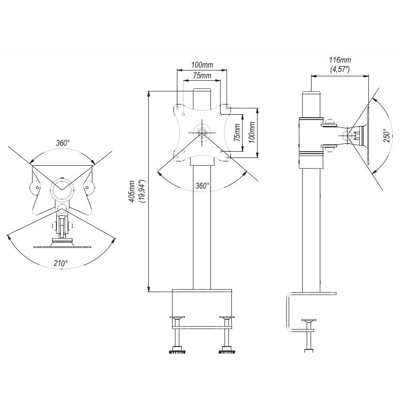 Rozměry stolního držáku na monitor Edbak SV01